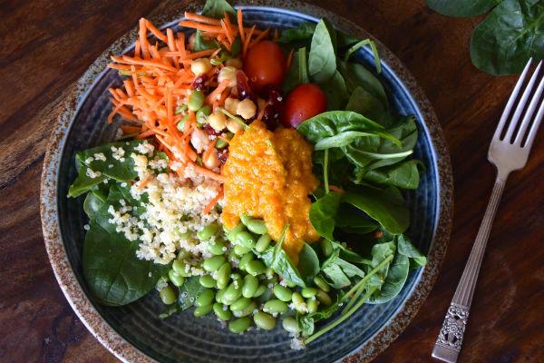 salade, vegan, foodness, tahini dressing, veganistisch, gezond, lunch