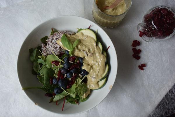 salade, freekeh, courgette, snijbiet