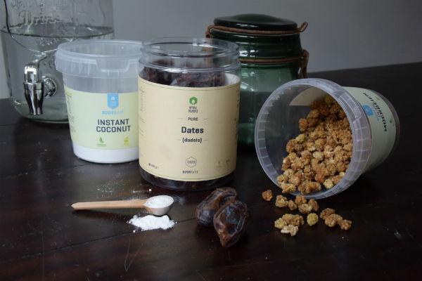 body & fit shop, smoothie, workshop, dadels, moerbeien, instant coconut, recept, gezond, superfood, slank