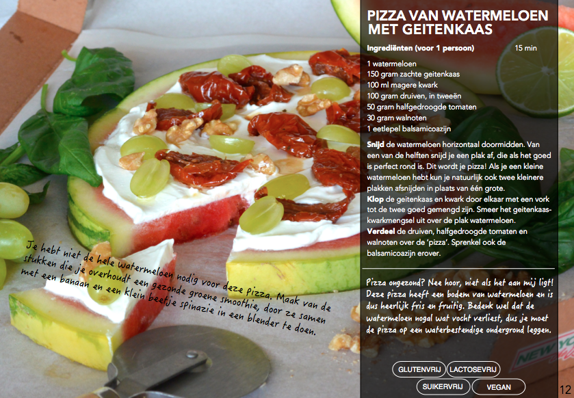 pizza, watermeloen, geitenkaas, foodness, fastfood, e-book, boek, recepten