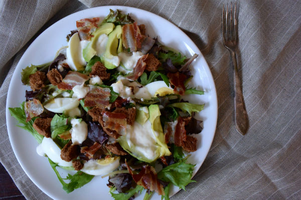 caesar, ceasar, salad, salade, albert heijn, allerhande box, foodness, review, spek, ei, avocado, dressing