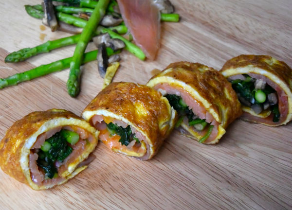 omelet, sushi, rol, zalm, foodness, champignons, asperge, foodness.nl, ei