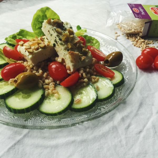 parelgort, lassie, salade, feta, grieks, recept, foodness