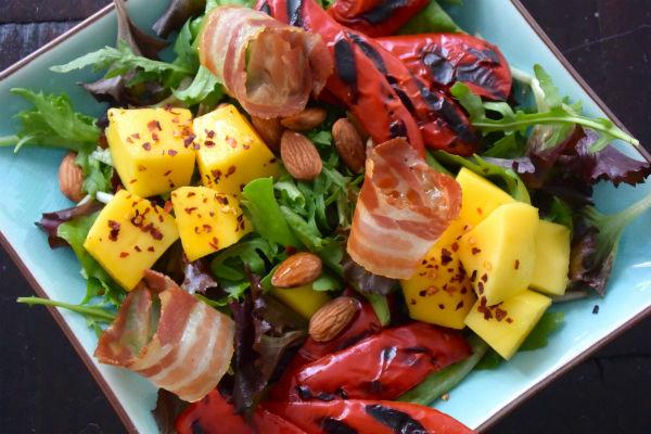 salade, spek, mango, paprika, amandel, chili, foodness