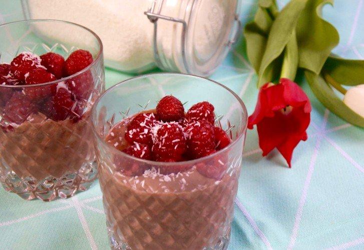 Vegan & suikervrij chocolade 'ijs' met banaan + frambozen