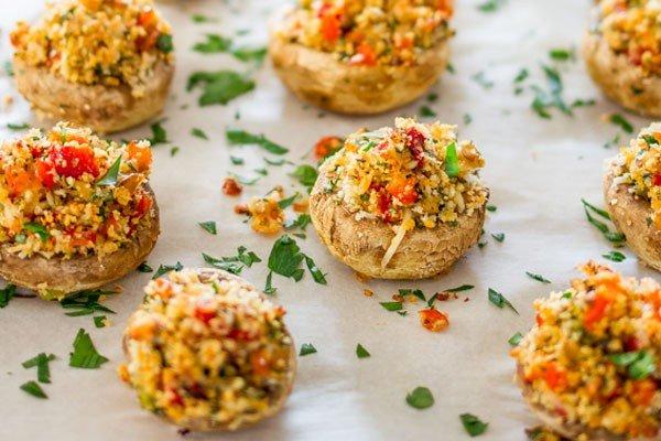 vegetarische gevulde paddenstoelen