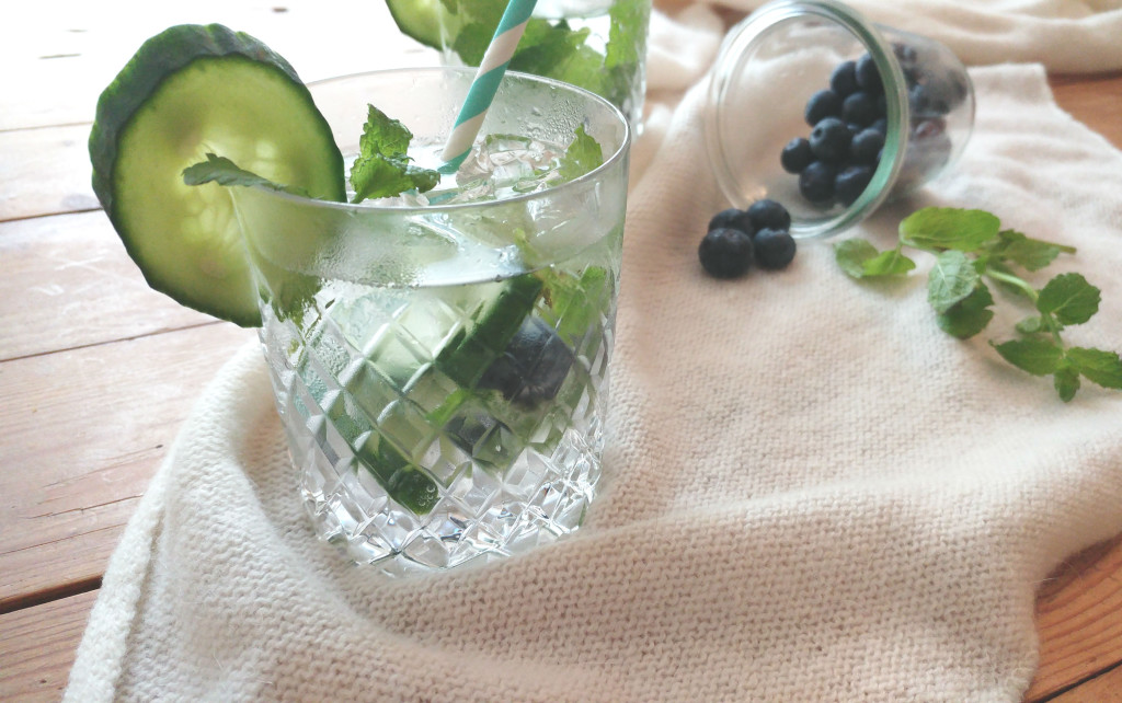 Gin Tonic met blauwe bessen en komkommer
