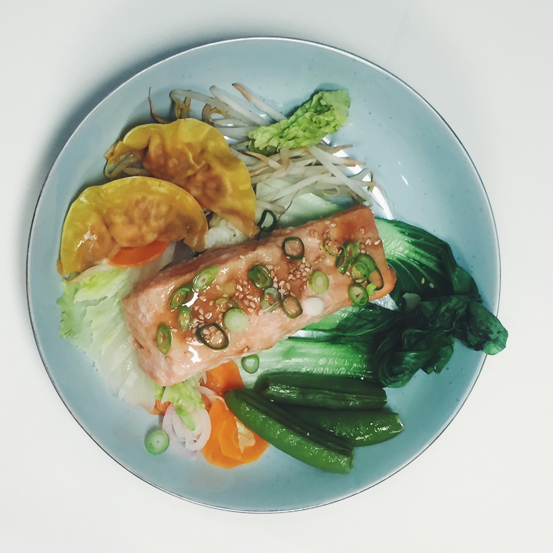 Gestoomde Oosterse zalmfilet met miso en zalmdumplings (Miele Kook Challenge)