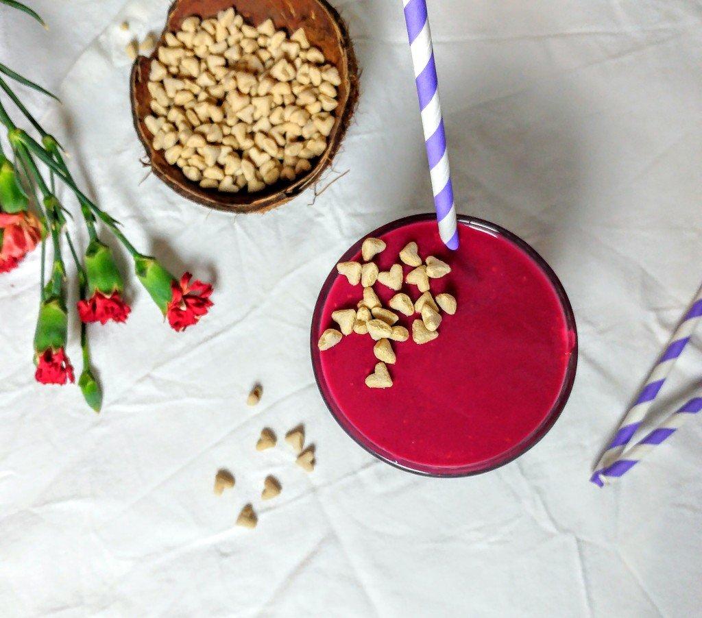 Pink panther smoothie: Roze smoothie met bietjes (!) en frambozen