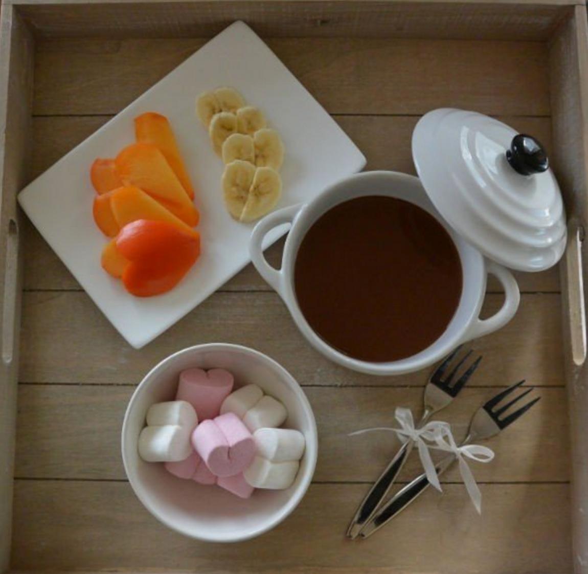 chocolade fondue voor romantische hapjes