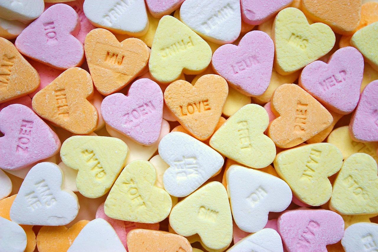 Romantische snoep hartjes