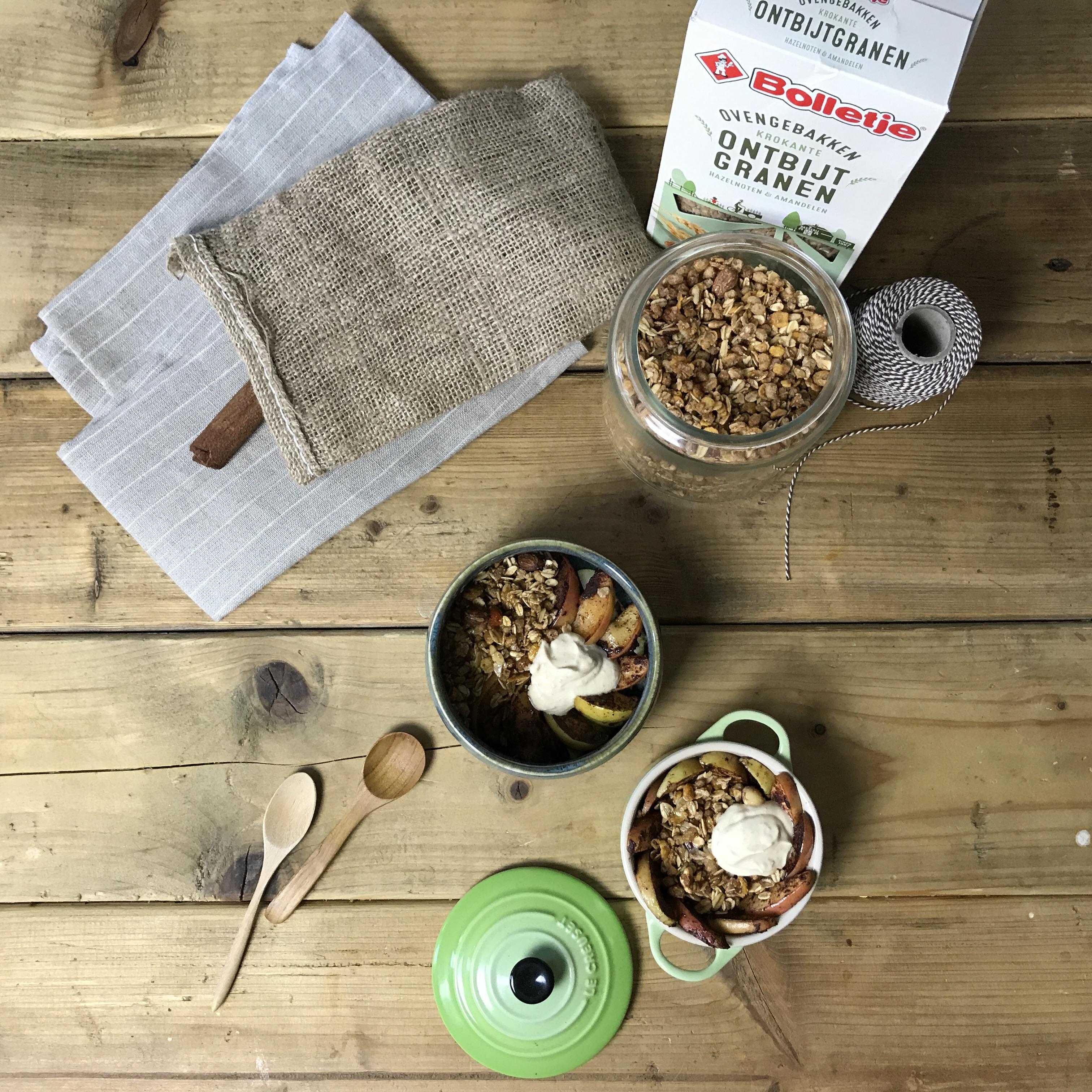 Toetje als ontbijt: Super makkelijke en snelle breakfast appel crumble
