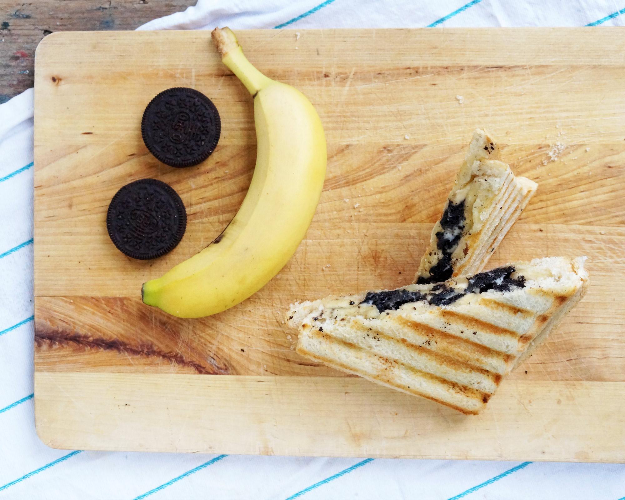 Tosti met banaan & Orea - Toffe tosti à la Leonie