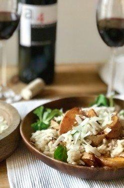 Pompoenrisotto met pecorino met Spaanse wijn