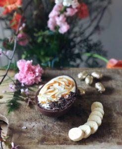 Paasei gevuld met vanillesmoothie - Paasontbijt!