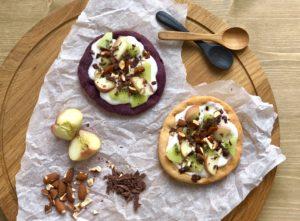 Het Pizza Dieet: Fruitpizza met kiwi, perzik, chocola en amandelen