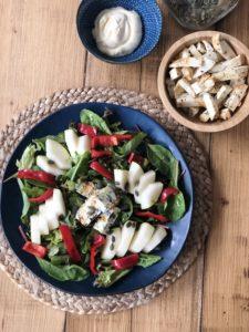 Salade met blauwe kaas