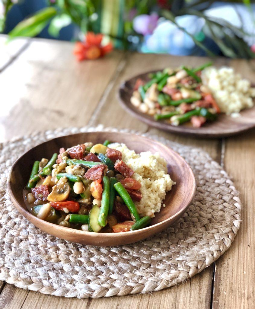 Stoofpotje met chorizo, boontjes & couscous