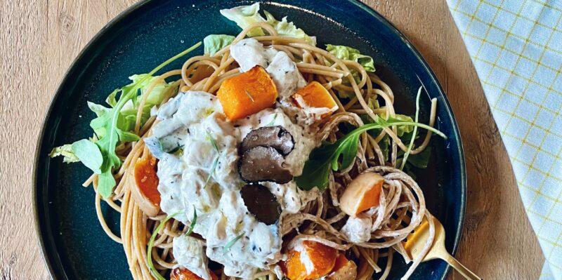 spaghetti met pompoen, boleet en truffel