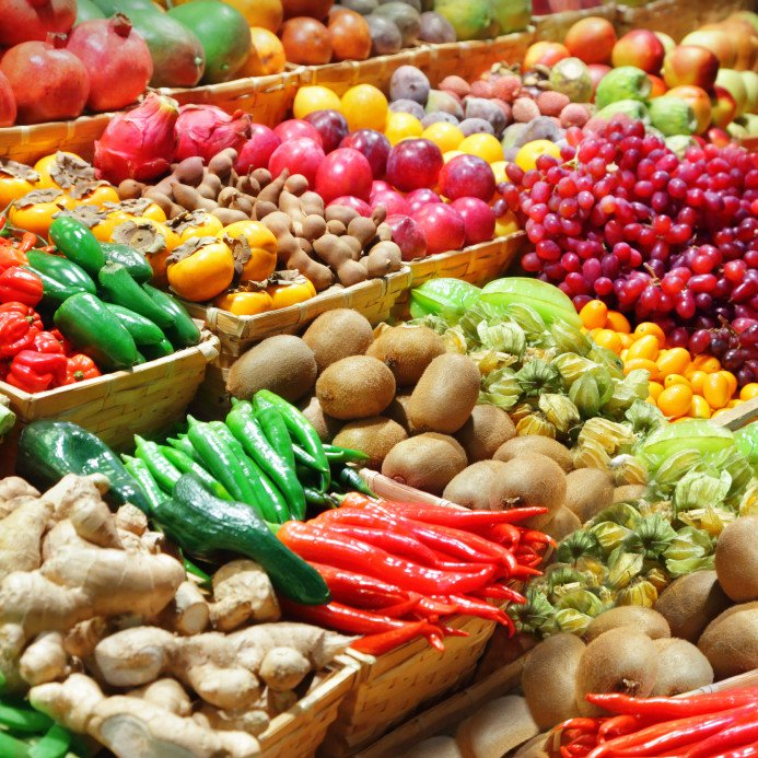 Fruits and vegetables at a farmer's market