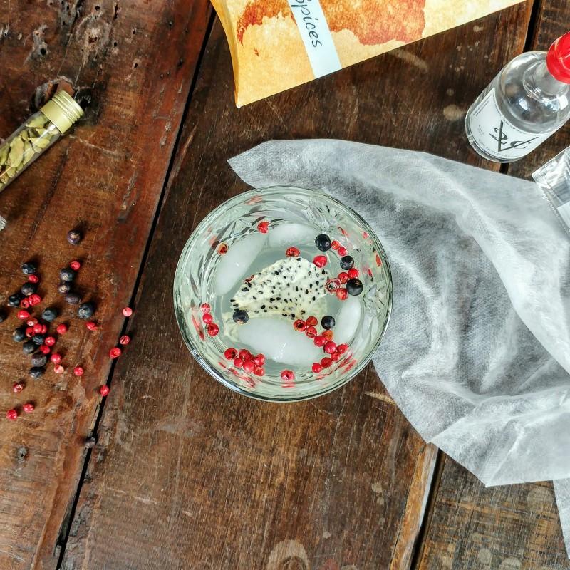 Gin tonic met gedroogd dragon fruit en cocktail botanicals