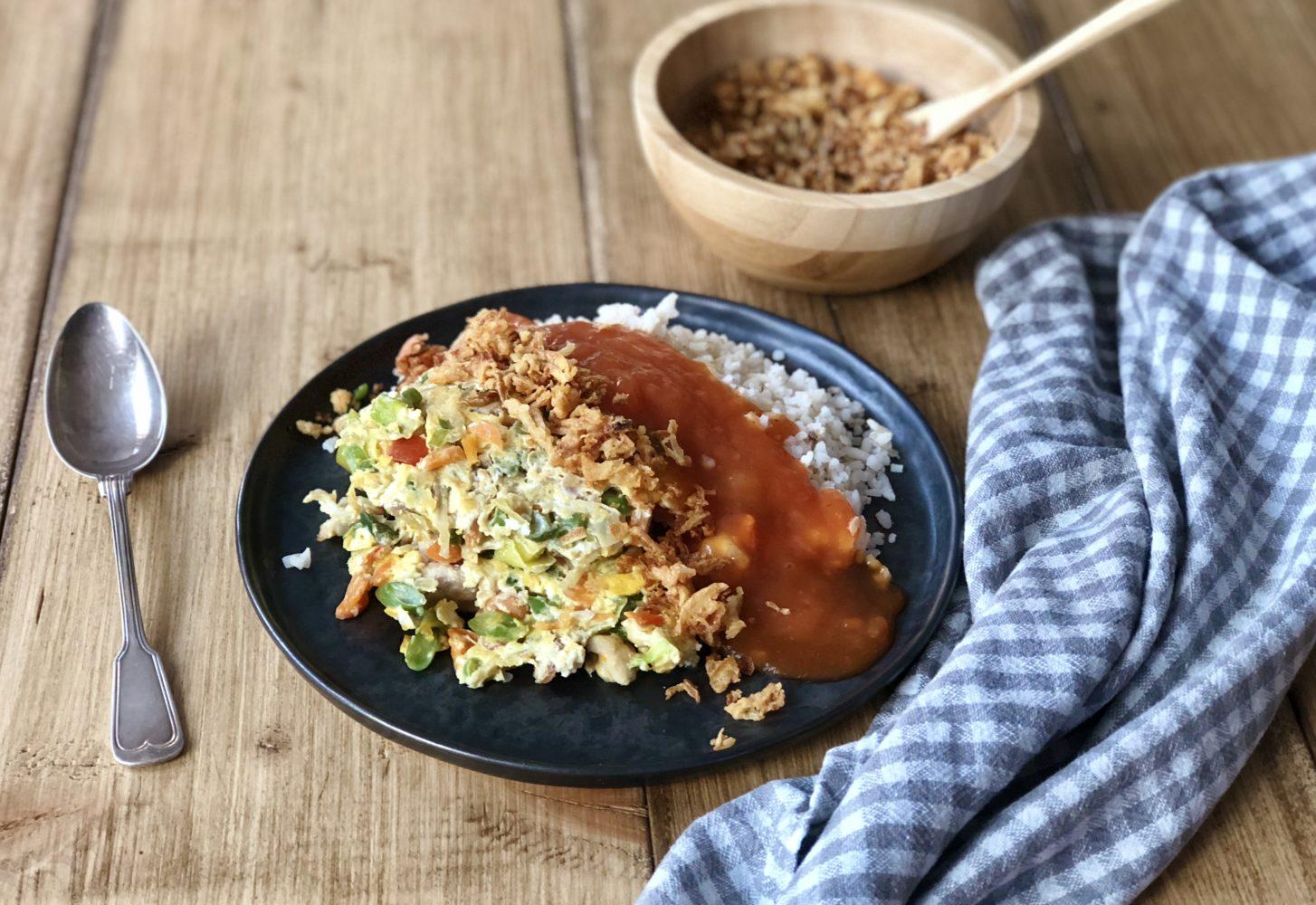 Homemade foe jong hai met kip & champignons