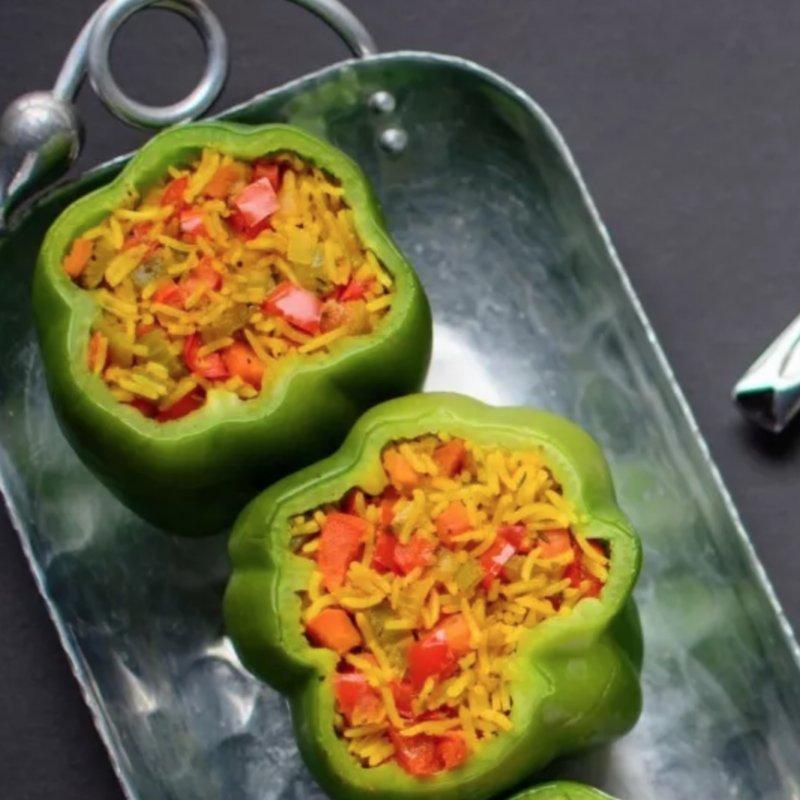 Vega: Groene gevulde paprika met rijst