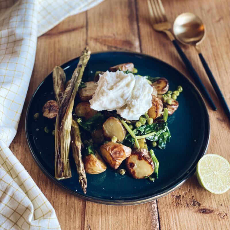 Krieltjessalade met groene asperges & erwtjes